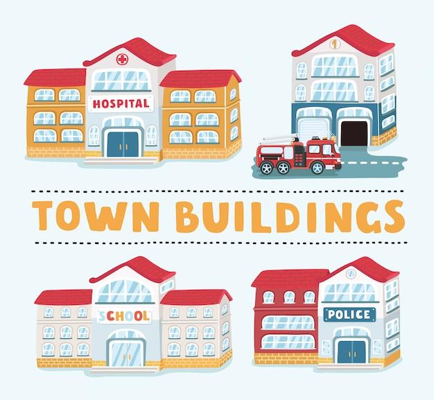 Iconos de edificios de tiendas y comercios en fondo blanco, ilustración