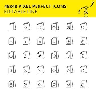 Iconos editables de archivos, flujo de documentos e interacción