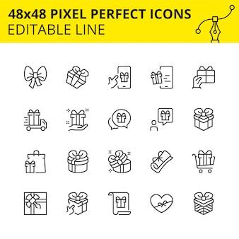 Iconos editables de cajas de regalo y sorpresas.