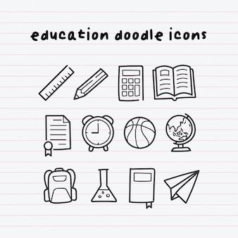 Iconos de educación doodle en paperline