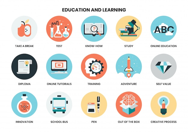 Iconos de educación establecidos para el negocio