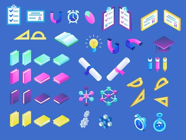 Iconos de educación en línea plana isométrica moderna.