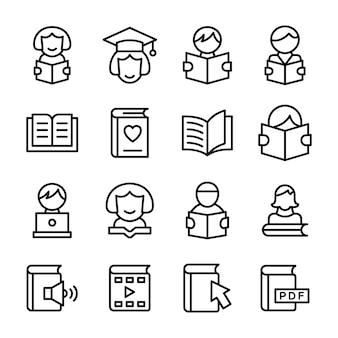 Iconos de educación en paquete de línea