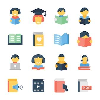 Iconos de educación en paquete plano