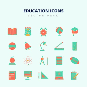 Iconos de educación vector pack