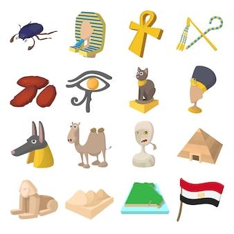 Iconos de egipto en estilo de dibujos animados para web y dispositivos móviles