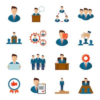 Iconos ejecutivos planos