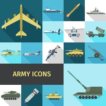Iconos de ejército planos
