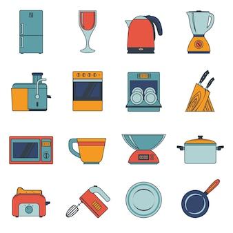 Iconos de electrodomésticos de cocina planos