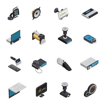 Iconos electrónicos isométricos del automóvil con bomba eléctrica gps navegador sistema de alarma aparatos inteligentes radio y dvd