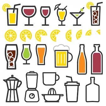 Iconos de elementos de bebida