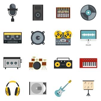 Iconos de elementos de estudio de grabación establecidos en estilo plano