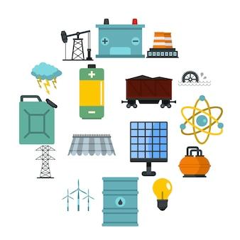 Iconos de elementos de fuentes de energía en estilo plano