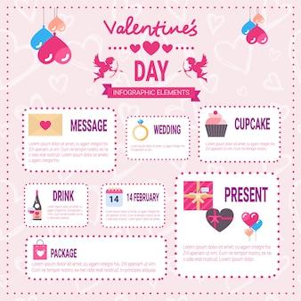 Iconos de elementos de infografía del día de san valentín sobre fondo rosa, gráfico de información de vacaciones de amor