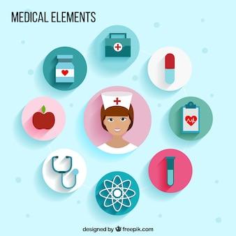 Iconos de elementos médicos