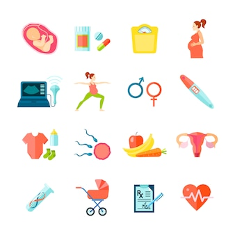 Los iconos del embarazo fijaron con el ejemplo aislado plano del vector de los símbolos de la atención sanitaria
