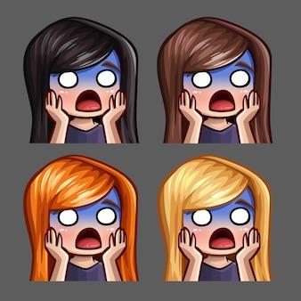 Iconos de emoción asustados femeninos con pelos largos para redes sociales y stickers
