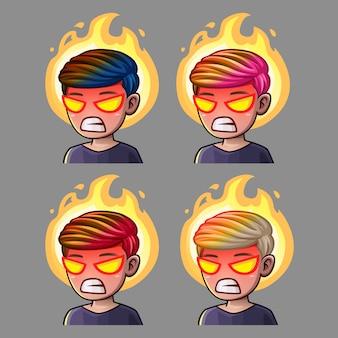 Los iconos de emoción enfurecen al hombre para las redes sociales y pegatinas