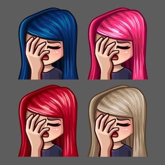Iconos de emoción facepalm hembra con pelos largos para redes sociales y stickers