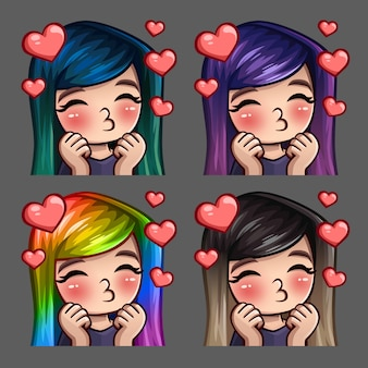 Iconos de emoción felices besos femeninos con pelos largos para redes sociales y pegatinas