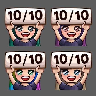 Iconos de emoción felices diez de cada diez mujeres con pelos largos para redes sociales y pegatinas