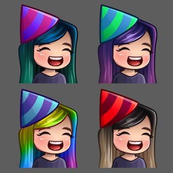 Iconos de emoción feliz fiesta femenina con pelos largos para redes sociales y pegatinas