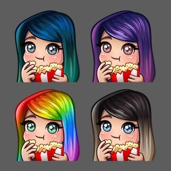 Iconos de emoción feliz hembra come palomitas de maíz con pelos largos para redes sociales y pegatinas
