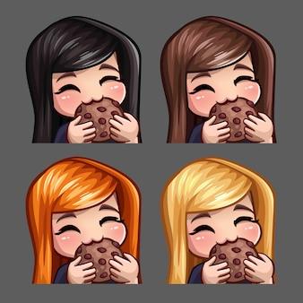 Iconos de emoción feliz hembra comer galletas con pelos largos para redes sociales y pegatinas