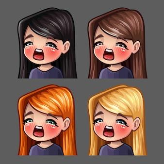 Iconos de emoción gasm hembra con pelos largos para redes sociales y stickers
