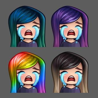 Iconos de emoción llorando mujer con pelos largos para redes sociales y pegatinas