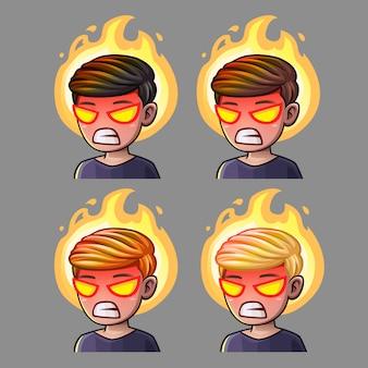 Iconos de emoción rabia chico para redes sociales y pegatinas