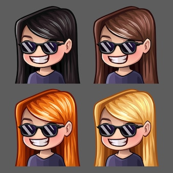 Los iconos de emoción sonríen a mujeres con gafas negras con pelos largos para redes sociales y pegatinas