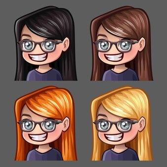 Los iconos de emoción sonríen a mujeres en gafas con pelos largos para redes sociales y pegatinas
