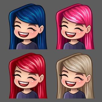 Los iconos de emoción sonríen a mujeres con pelos largos para redes sociales y pegatinas