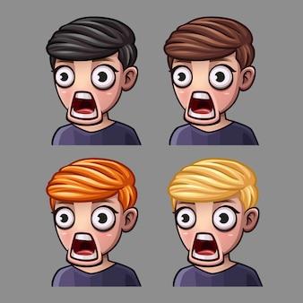 Los iconos de emoción sorprendieron a los hombres para las redes sociales y pegatinas