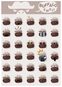 Iconos de emoji de búfalo