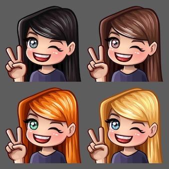 Los iconos de emotion hola sonríen con pelos largos para redes sociales y stickers