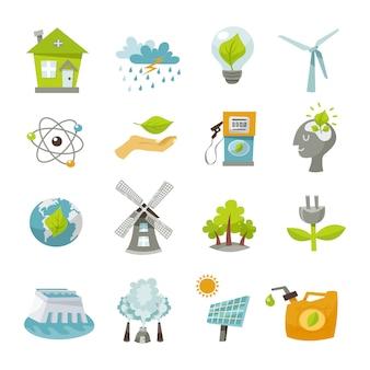 Iconos de energía eco plana