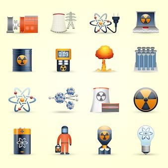 Iconos de energía nuclear fondo amarillo