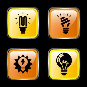 Iconos de energía sobre oscuro