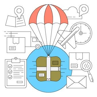 Iconos de entrega con caja de paracaídas en estilo minimal
