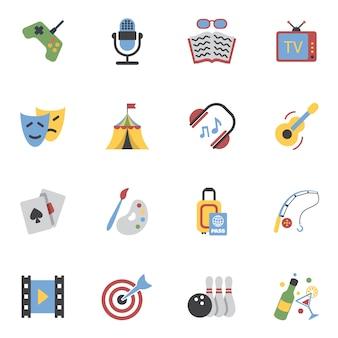 Iconos de entretenimientos planos