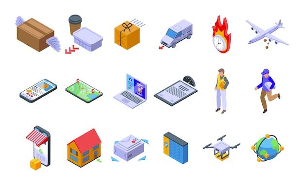 Los iconos de envío rápido establecen vector isométrico. coche de negocios. mensajero de carga