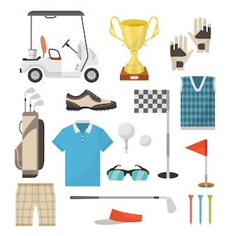 Iconos de equipamiento deportivo para jugar al golf en un estilo plano