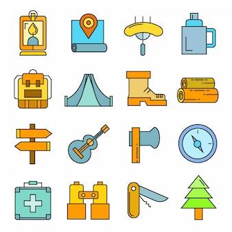 Iconos de equipo de actividades al aire libre y camping.