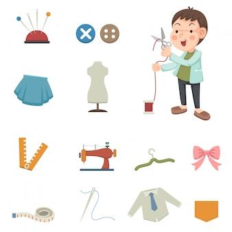 Iconos de equipo de diseño y costura.