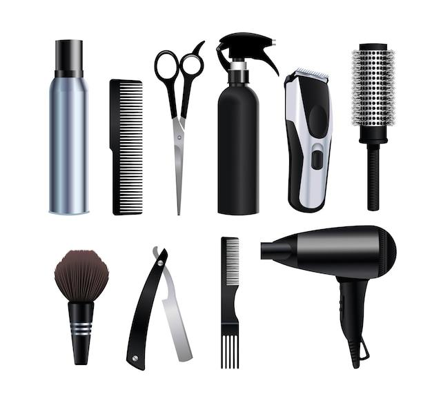 Iconos de equipo de herramientas de peluquería en ilustración de fondo blanco