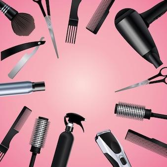 Iconos de equipo de herramientas de peluquería en ilustración de fondo rosa