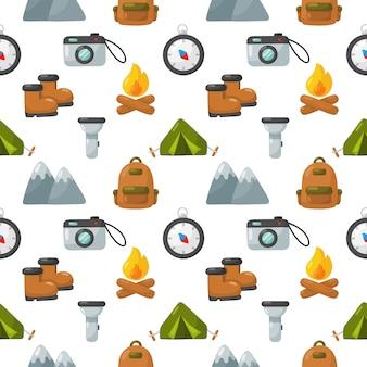 Los iconos de equipos de camping establecen patrones sin fisuras aisladas sobre fondo blanco.