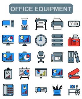 Iconos de equipos de oficina en estilo lineal
